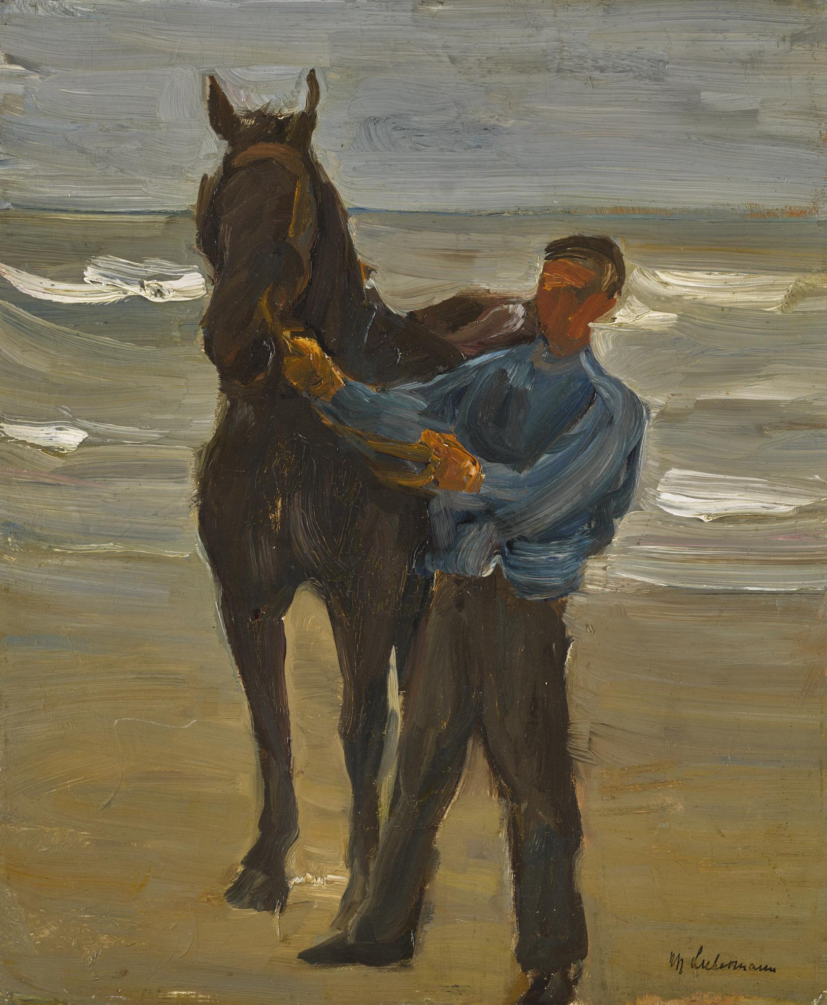 Max Liebermann-Mann Mit Einem Pferd Am Strand (Man With A Horse On The Beach)-1909