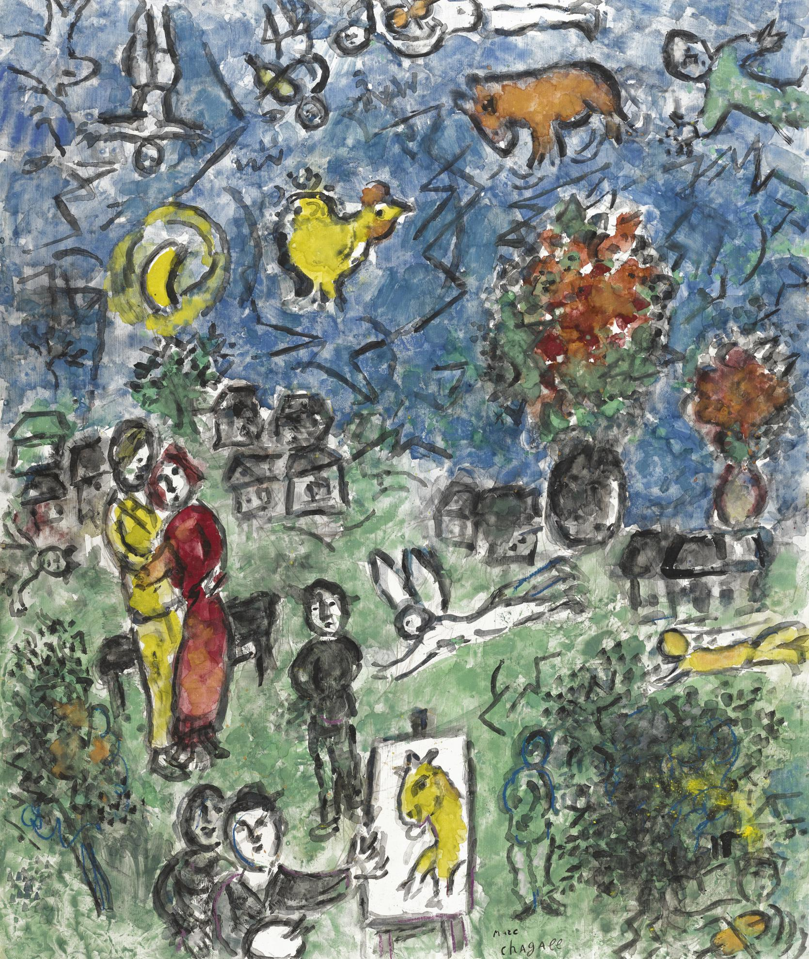 Marc Chagall-Scene Au Village-1983