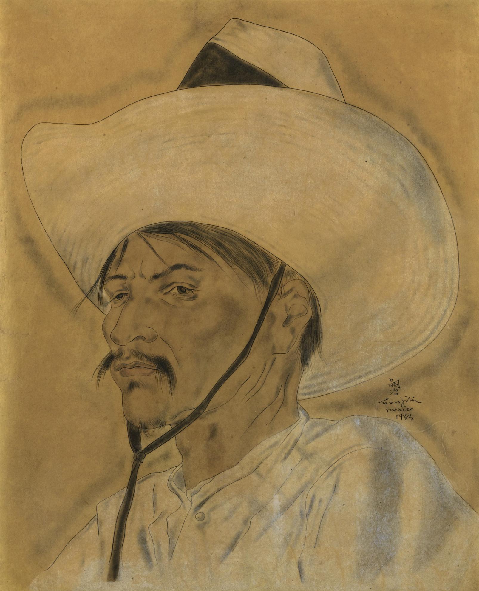 Tsuguharu Foujita-Mexicain Et Un Chapeau Au Ruban Noir-1933