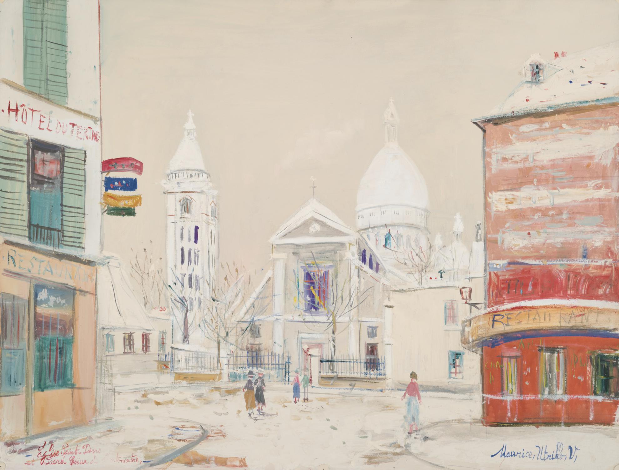 Maurice Utrillo-Le Sacre-Coeur De Montmartre Et Leglise Saint-Pierre Sous La Neige-1940