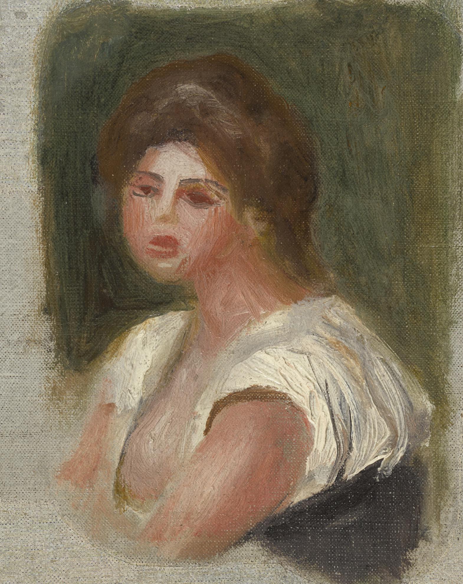 Pierre-Auguste Renoir-Buste De Jeune Femme - Fragment-1895