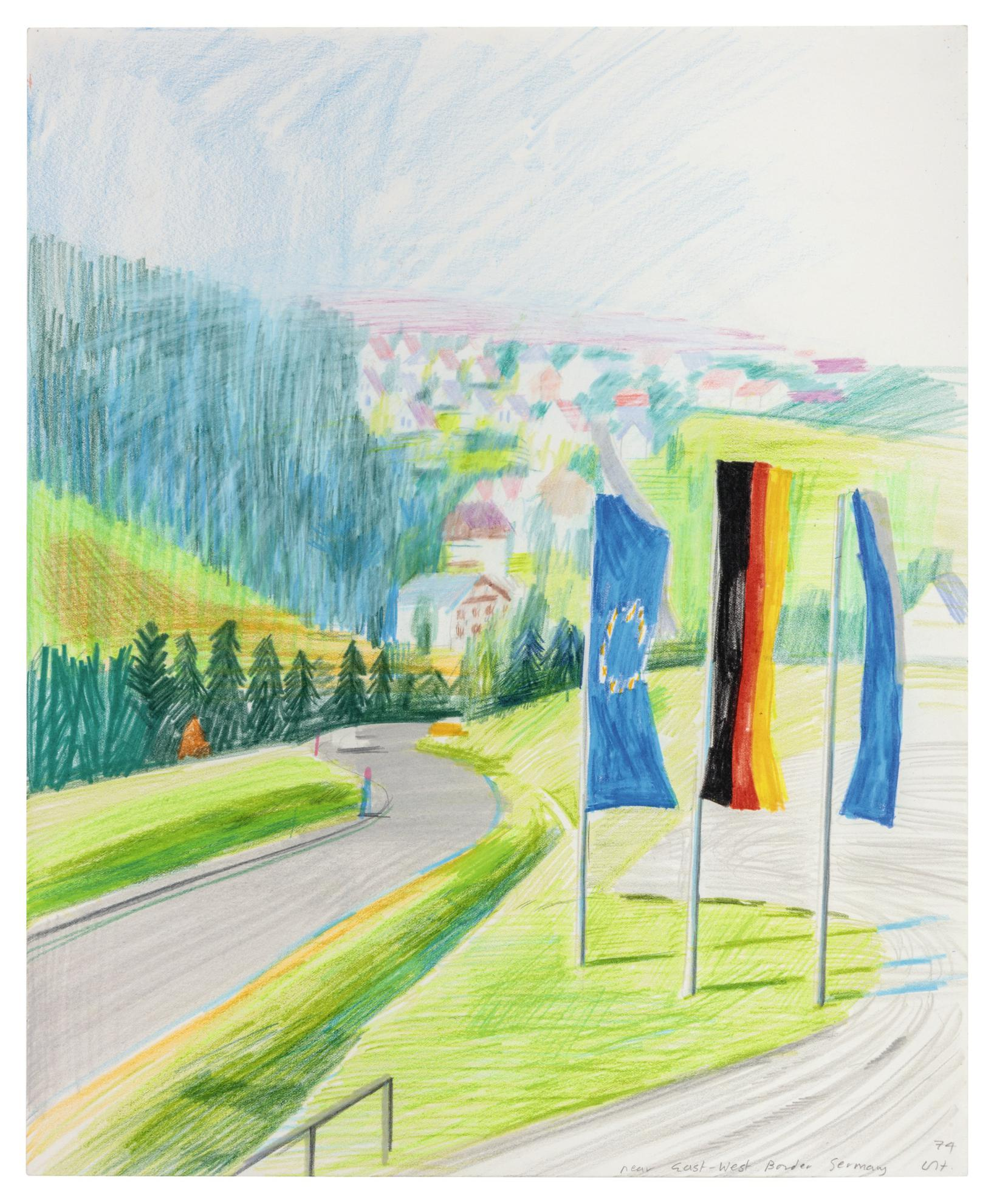 David Hockney-Near East West Border Germany-1974