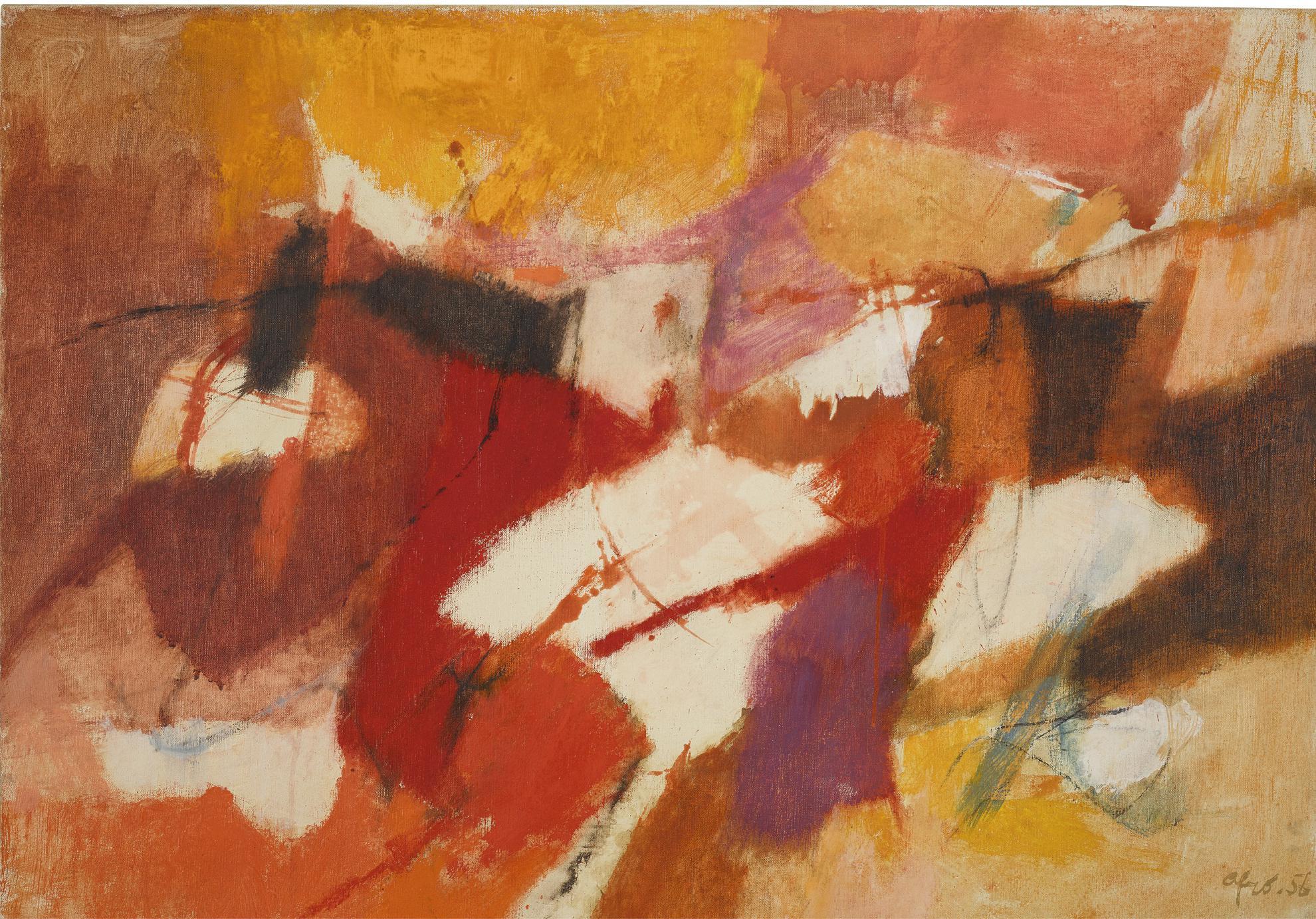 Afro Basaldella-Composizione Rosso Giallo-1956