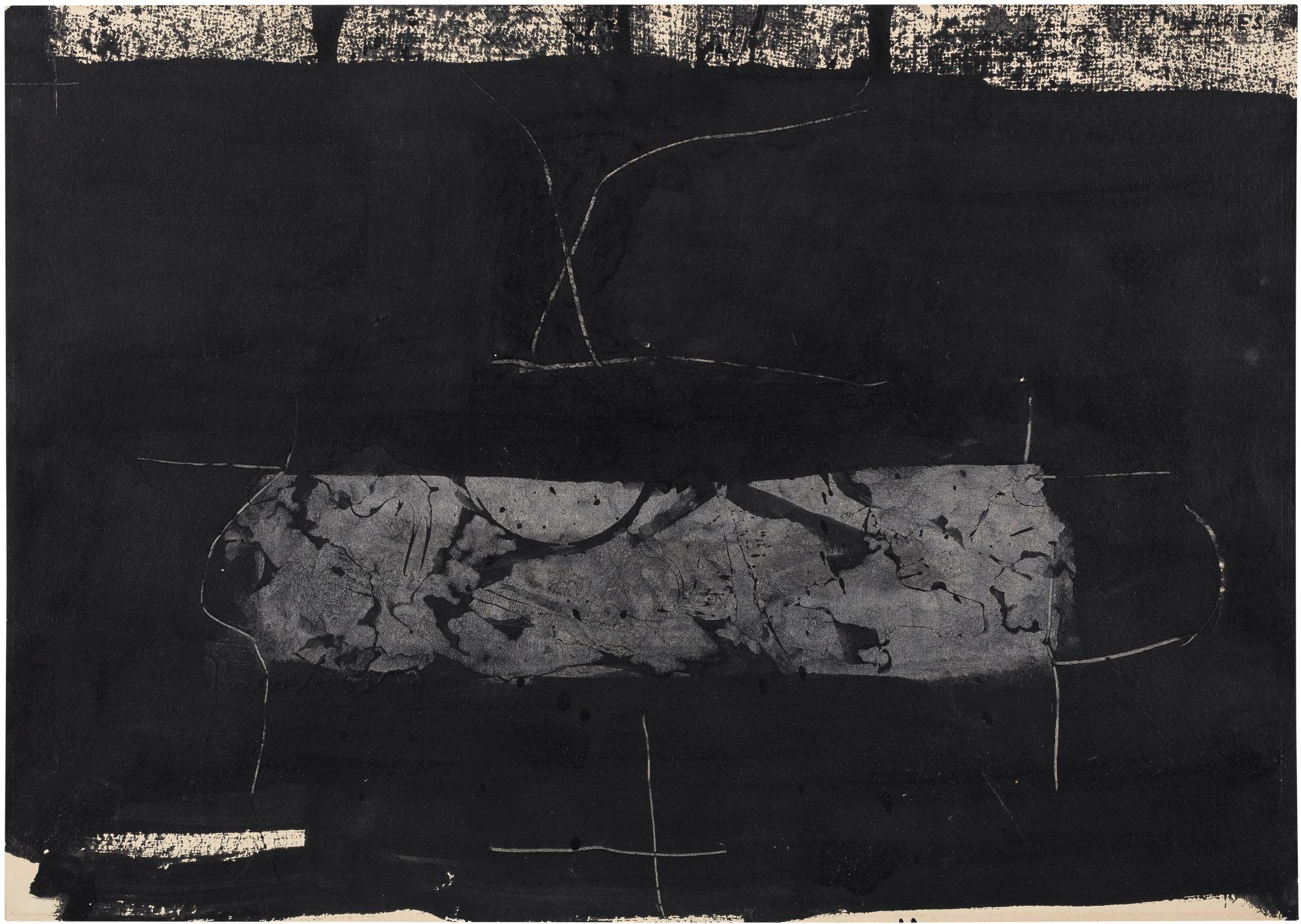 Manolo Millares-Composition Noir Et Gris Fonce-1960