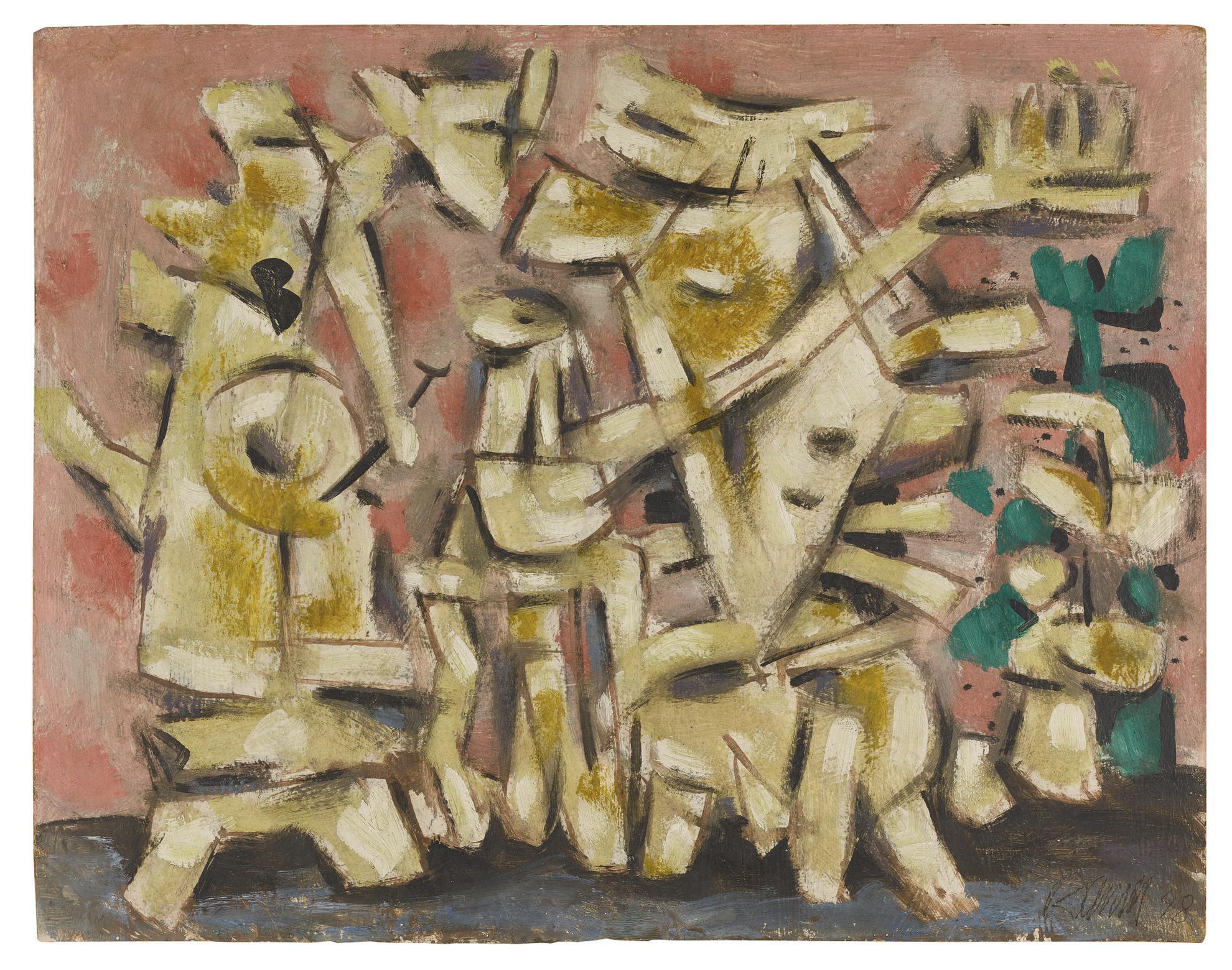 Willi Baumeister-Heitere Bewegung Auf Rosa (Cheerful Movement In Pink)-1948