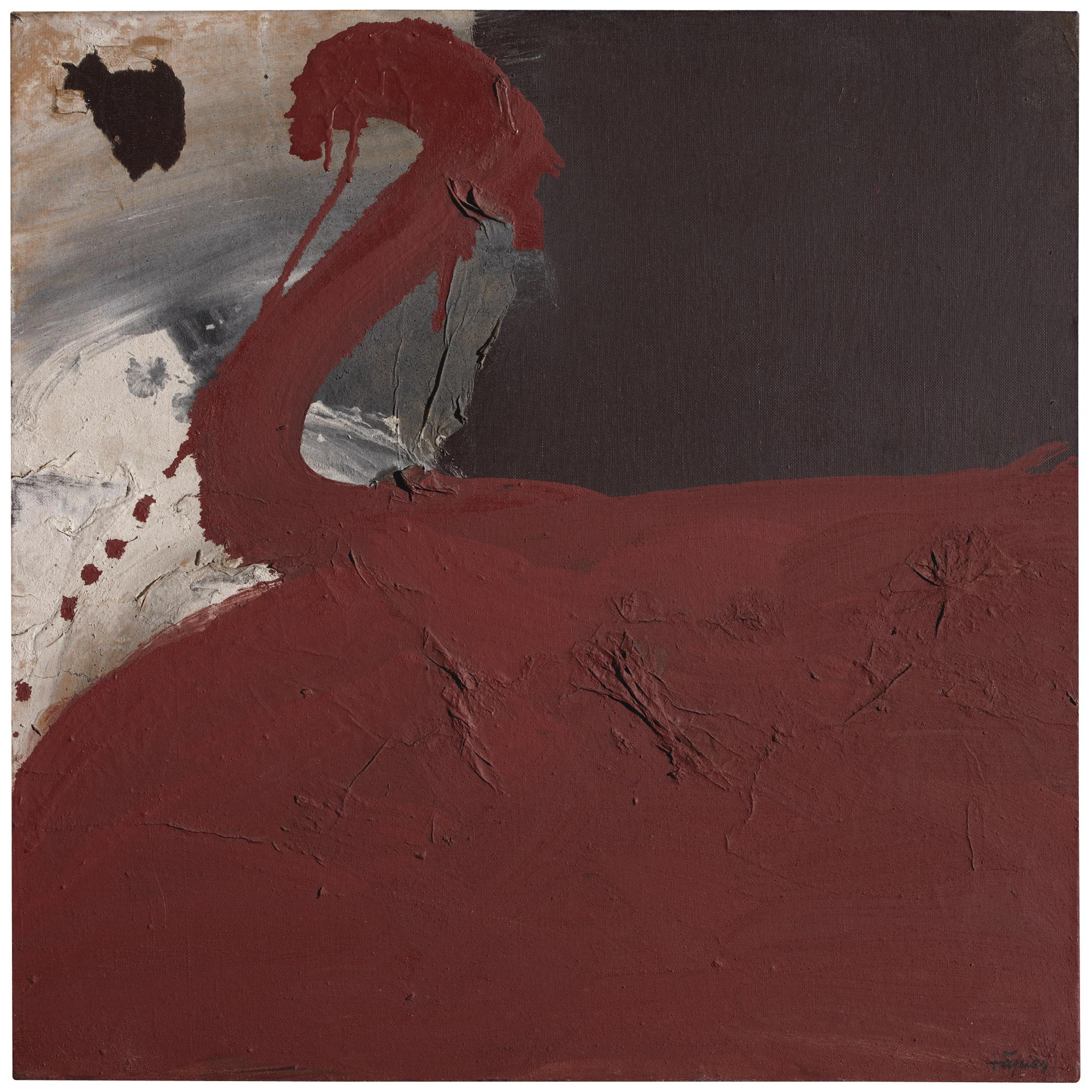 Antoni Tapies-Pintura-Collage Oxid Vermell (Rusty Red Painting-Collage)-1960