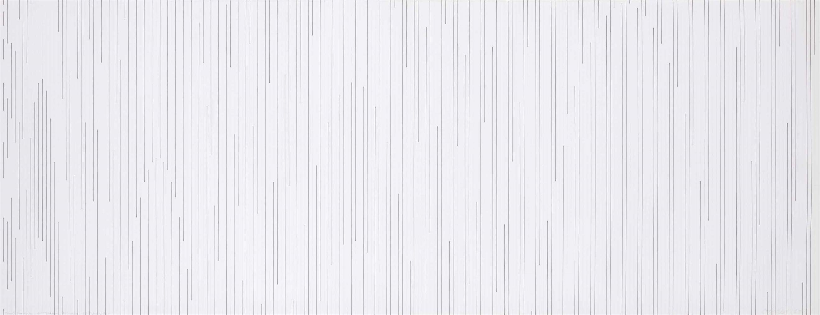 Francois Morellet-Tirets 5 Mm Encre, 10 Mm Crayon, 15 Mm Encre, 20 Mm Crayon Etc...-1977