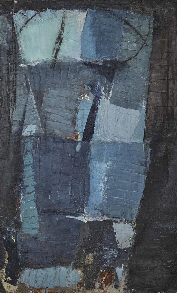 Olivier Debre-Signe Personnage Aux Carres Gris Bleu-1954