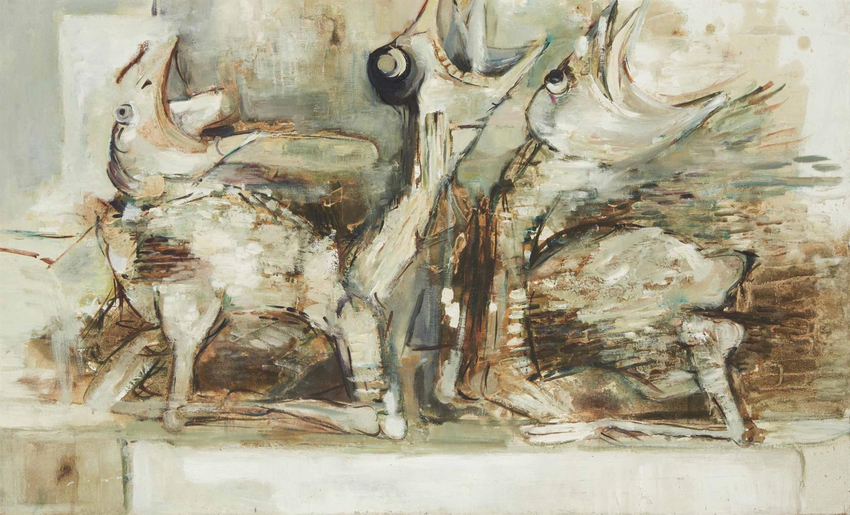 Paul Rebeyrolle - Composition (Les Oiseaux)-1960