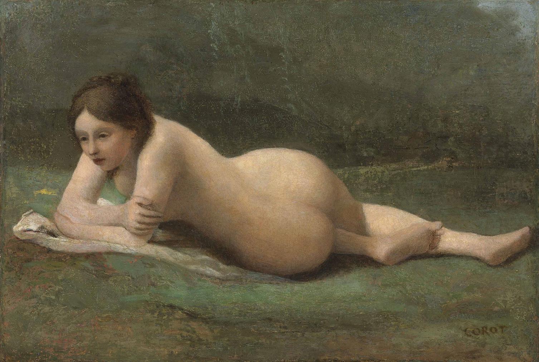 Jean-Baptiste-Camille Corot-Jeune Femme Etendue Sur Lherbe-1860