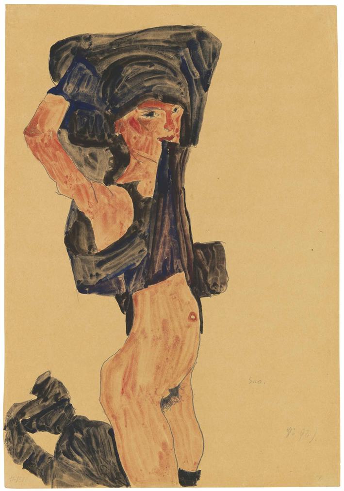 Egon Schiele-Kniendes Madchen, Sich Den Rock Uber Den Kopf Ziehend-1910
