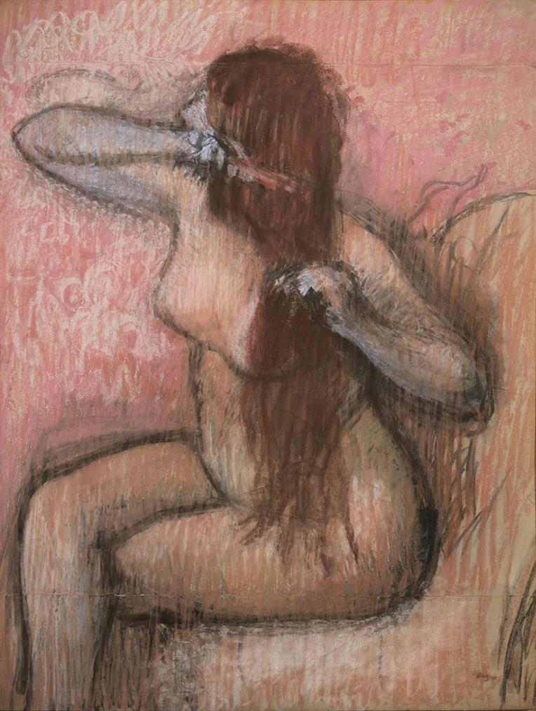 Edgar Degas-Femme Assise, Se Coiffant-1890
