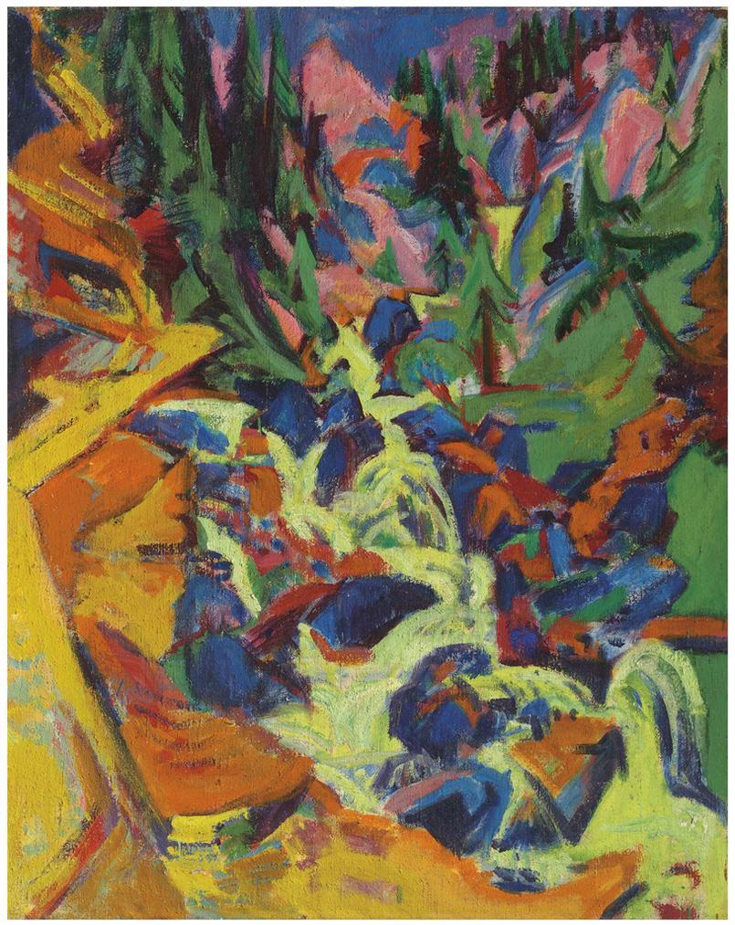 Ernst Ludwig Kirchner-Der Wasserfall (Recto); Mondaufgang Auf Fehmarn (Verso)-1919