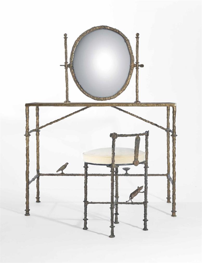 Diego Giacometti-Table De Coiffeuse Avec Oiseau Et Coupe; Tabouret De Coiffeuse Avec Souris-1963