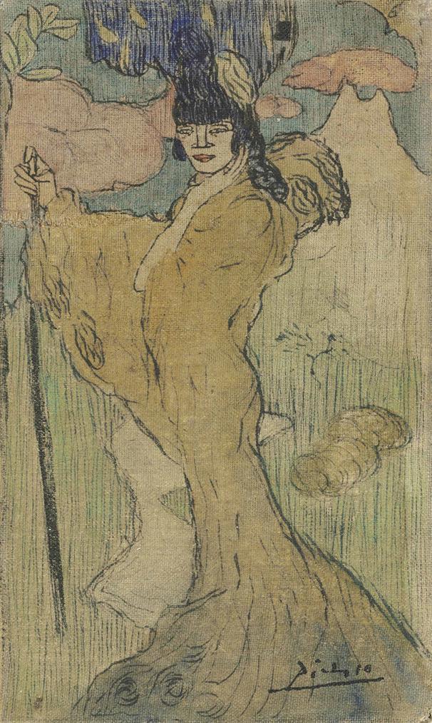 Pablo Picasso-Femme Au Baton (Femme Espagnole)-1901
