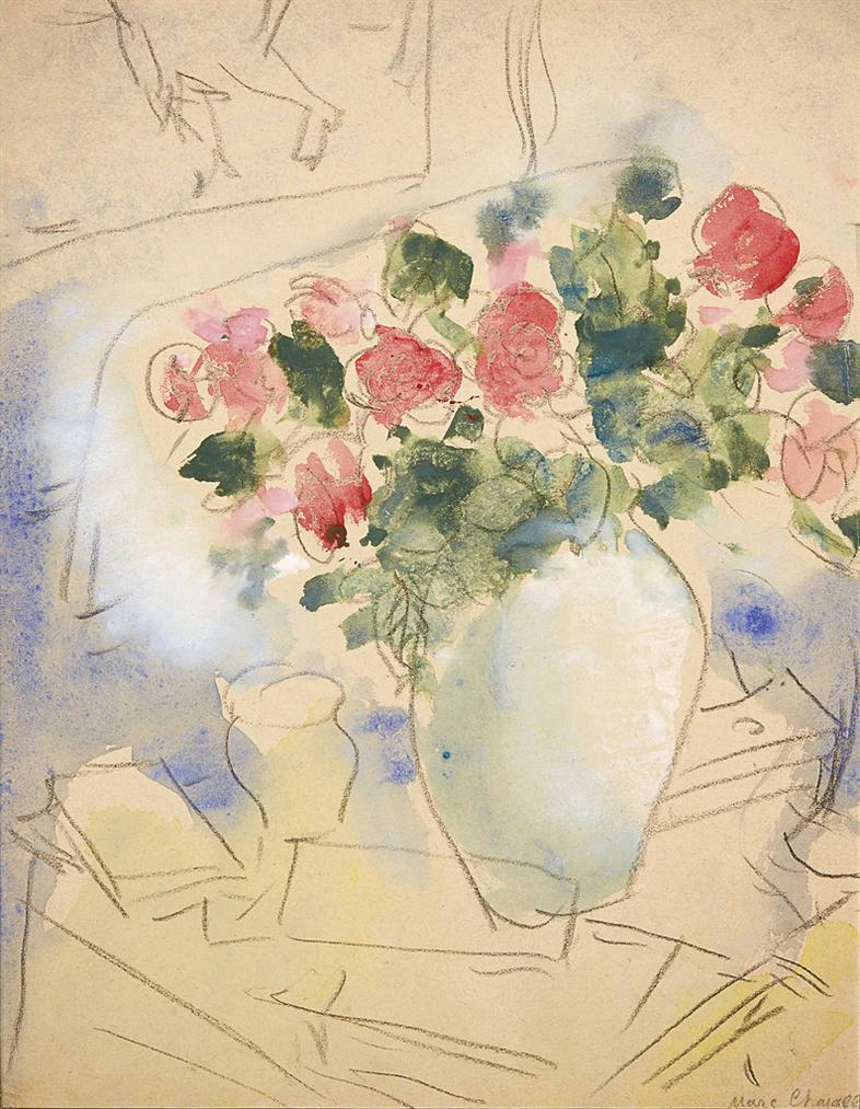 Marc Chagall-Vase De Roses, Etude-1949