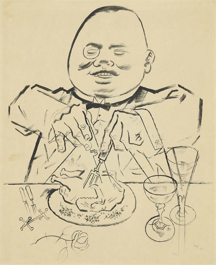 George Grosz-Posperitat - Schlemmer (Prosperity - The Glutton; Recto) Ruhraufstand (Ruhr Uprising; Verso)-1924