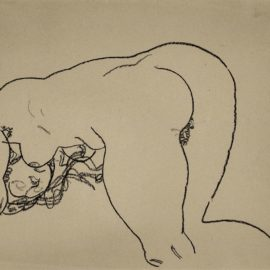 Egon Schiele-Female Nude Bending Down On Knees And Elbows-1918