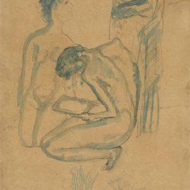 Pablo Picasso-Vieille Femme Et Deux Nus-1903