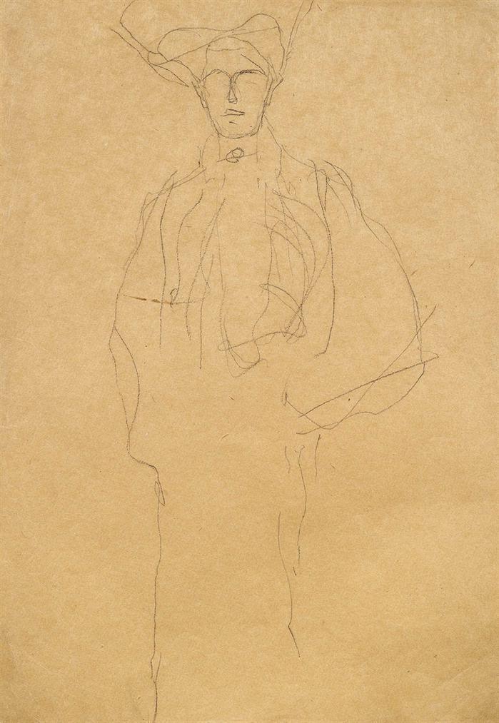 Gustav Klimt-Dame Mit Hut Von Vorne (Bildnis Adele Bloch-Bauer)-1903