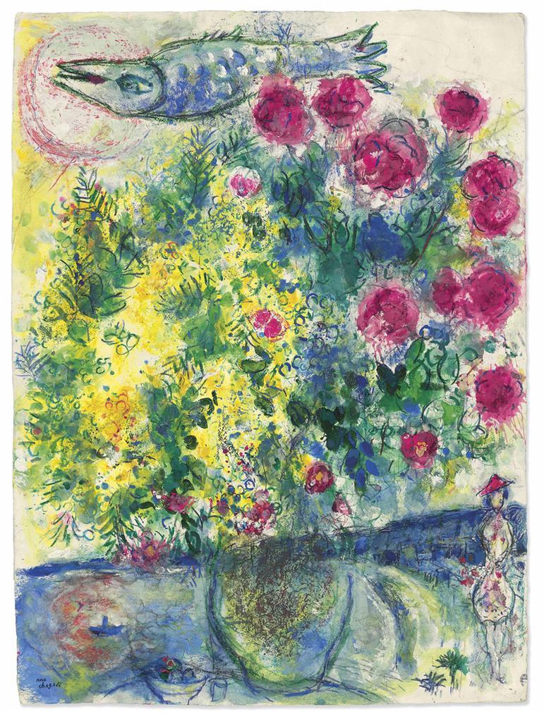 Marc Chagall-Roses Et Mimosas (Nice Et La Cote Dazur)-1960