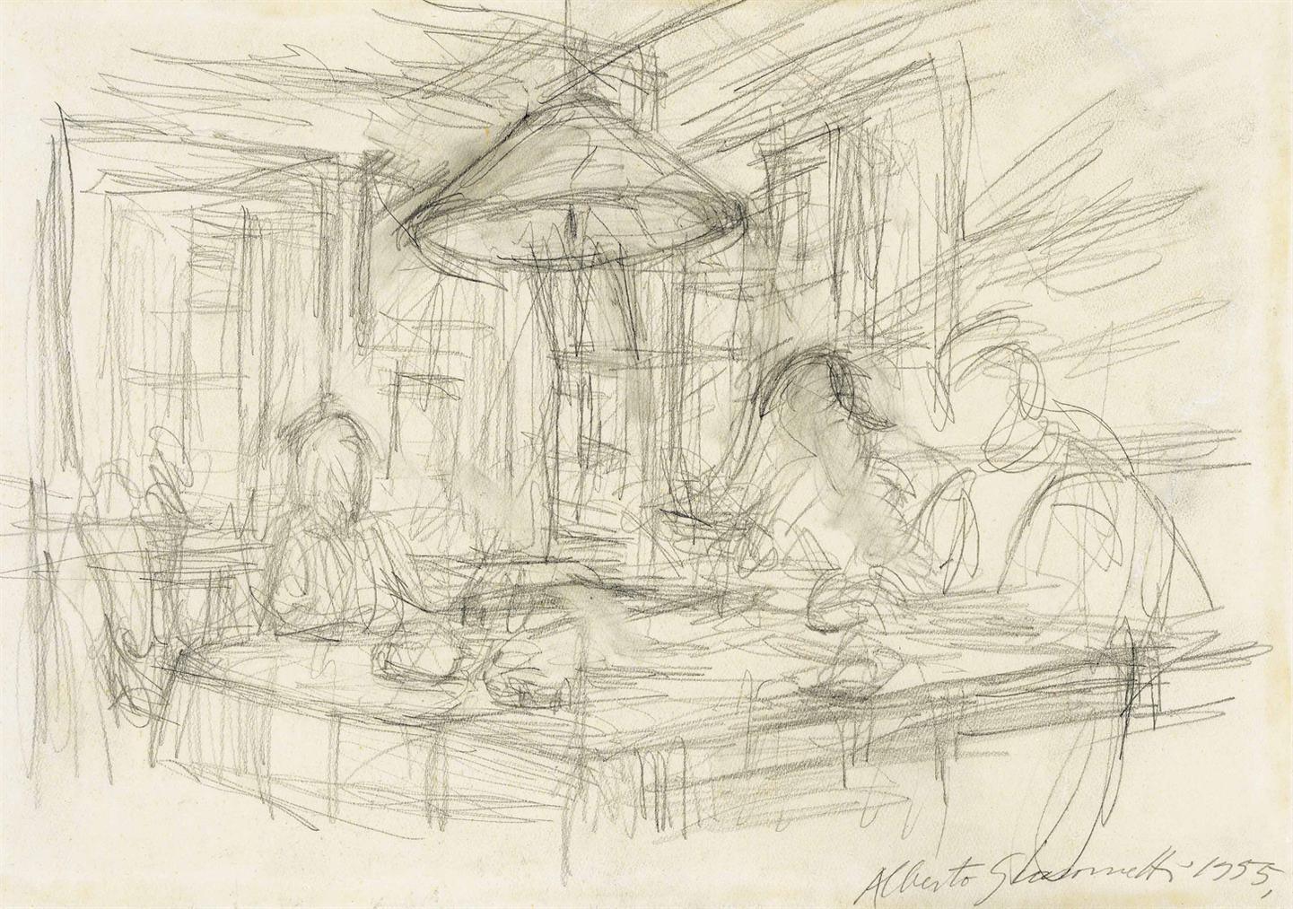 Alberto Giacometti-Trois Personnages Sous La Lampe A Maloja-1955