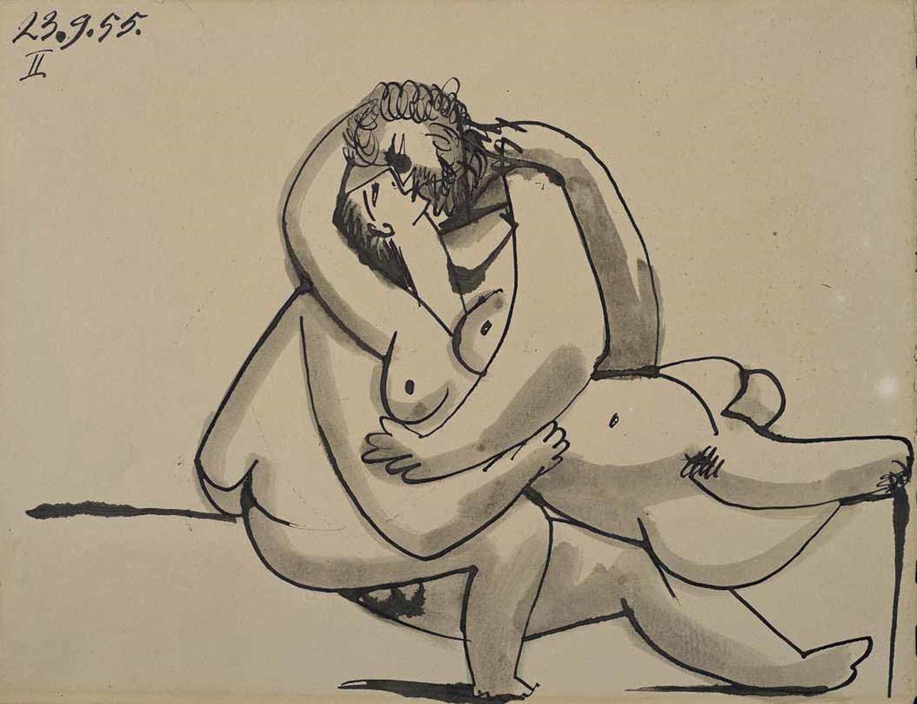 Pablo Picasso-Homme Et Femme Nus-1955