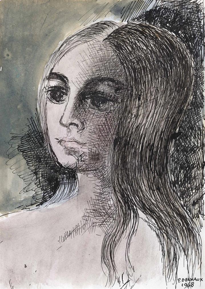 Paul Delvaux-Portrait De Femme-1968