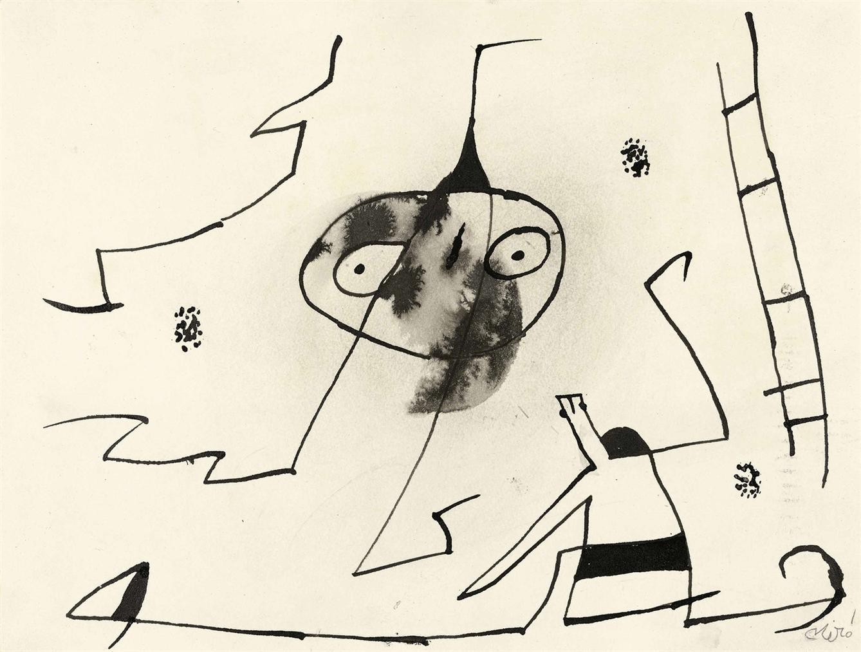 Joan Miro-Homme, Femme Et Oiseau Devant Lechelle De Levasion-1977