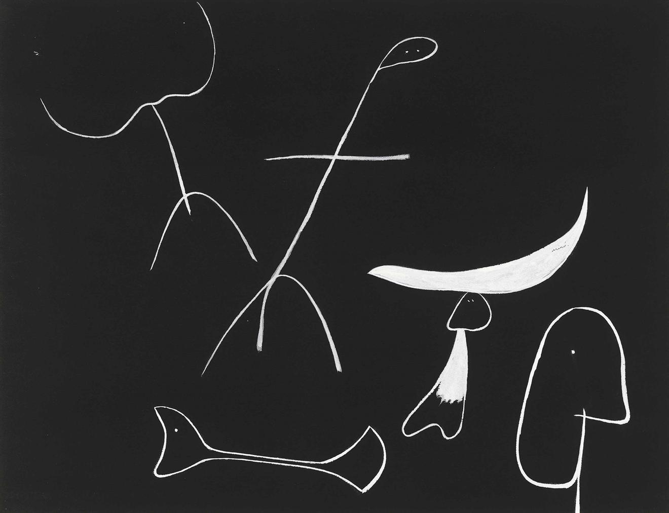 Joan Miro-Sans Titre (Personnages Et Animaux)-1937