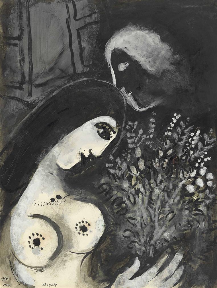 Marc Chagall-La Belle Aux Fleurs-1950