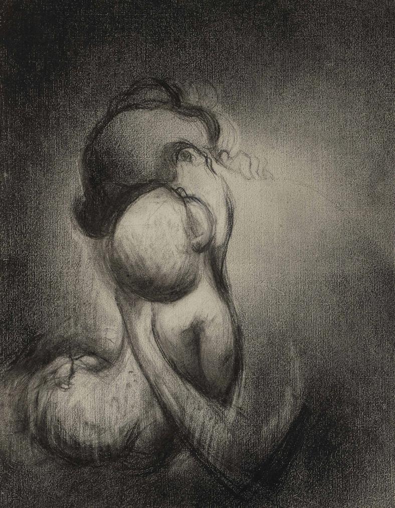 Charles Angrand - Mere Embrassant Son Enfant-