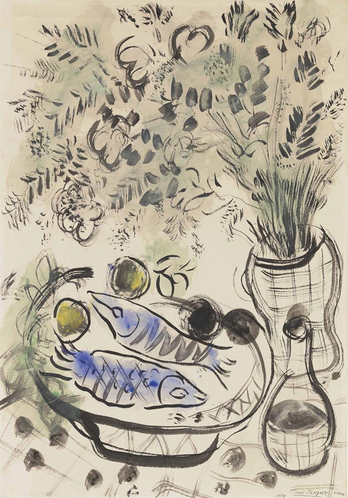 Marc Chagall-Poissons Et Fleurs-1950