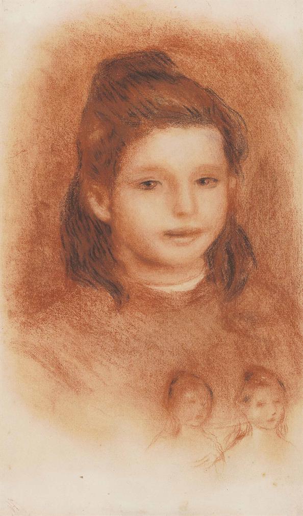 Pierre-Auguste Renoir-Tete De Jeune Fille Et Etudes De Filles-1900