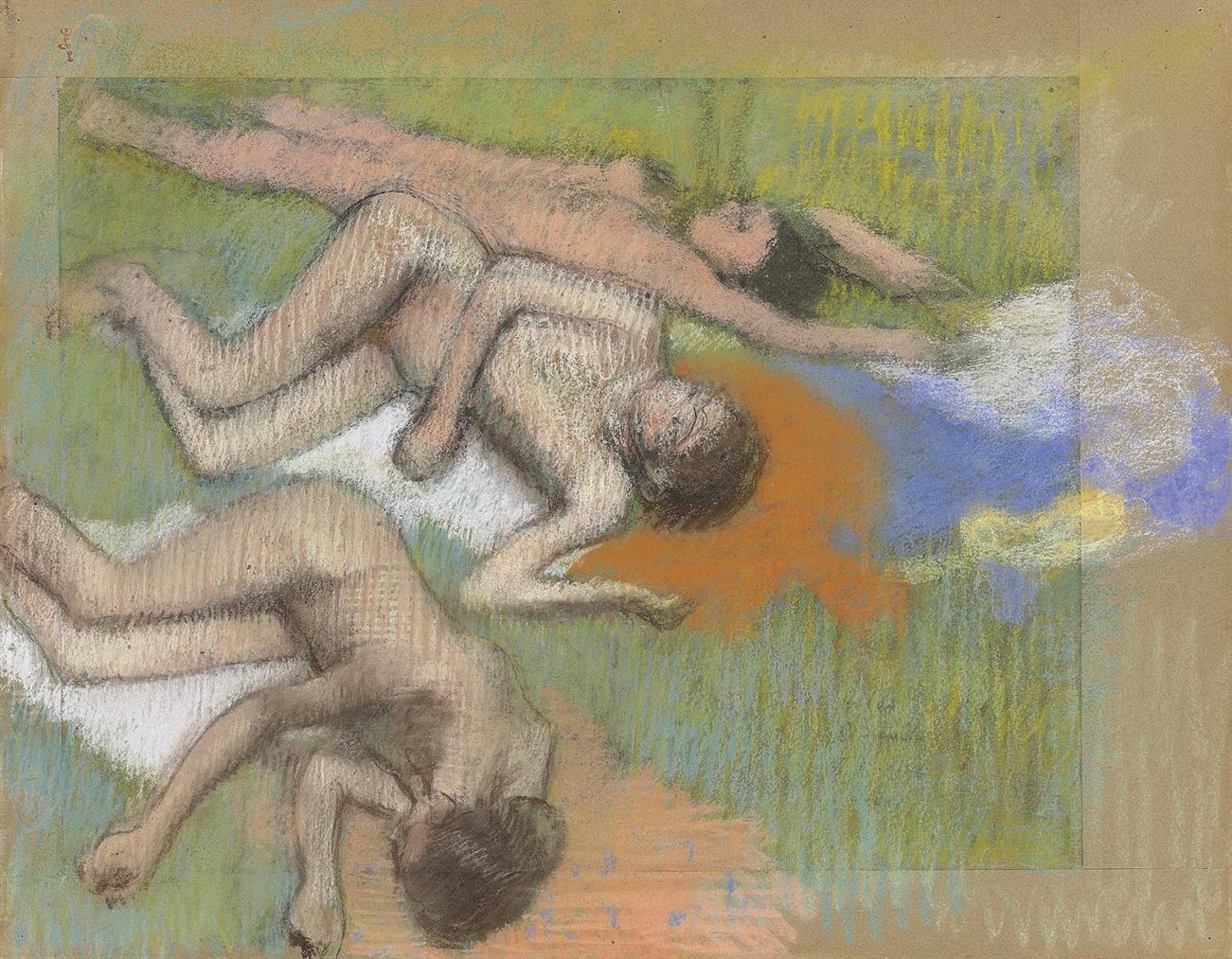 Edgar Degas-Apres Le Bain, Trois Femmes Nues-1895