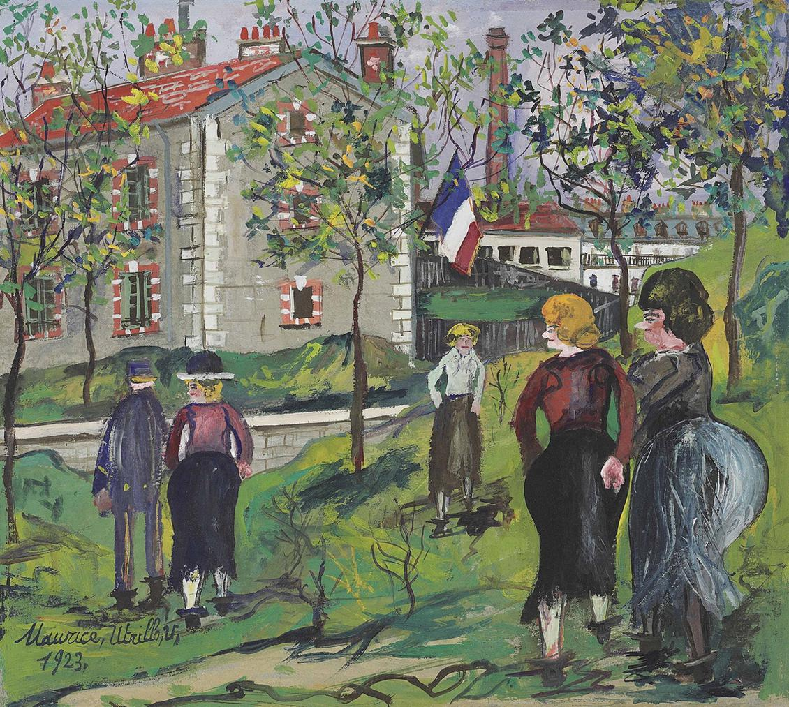 Maurice Utrillo-Personnages Devant Les Fortifications De Paris-1923