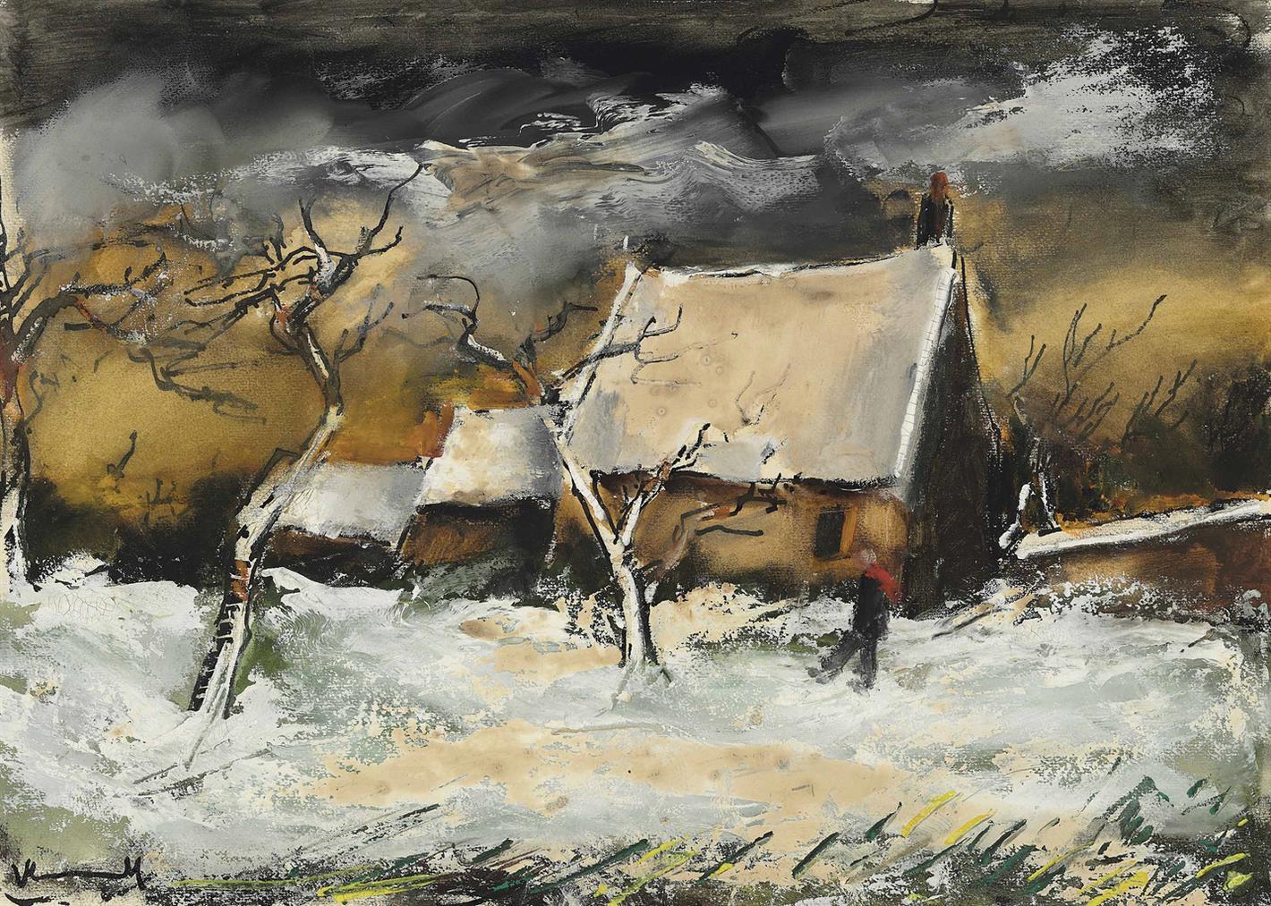 Maurice de Vlaminck-Les Chaumieres Sous La Neige-