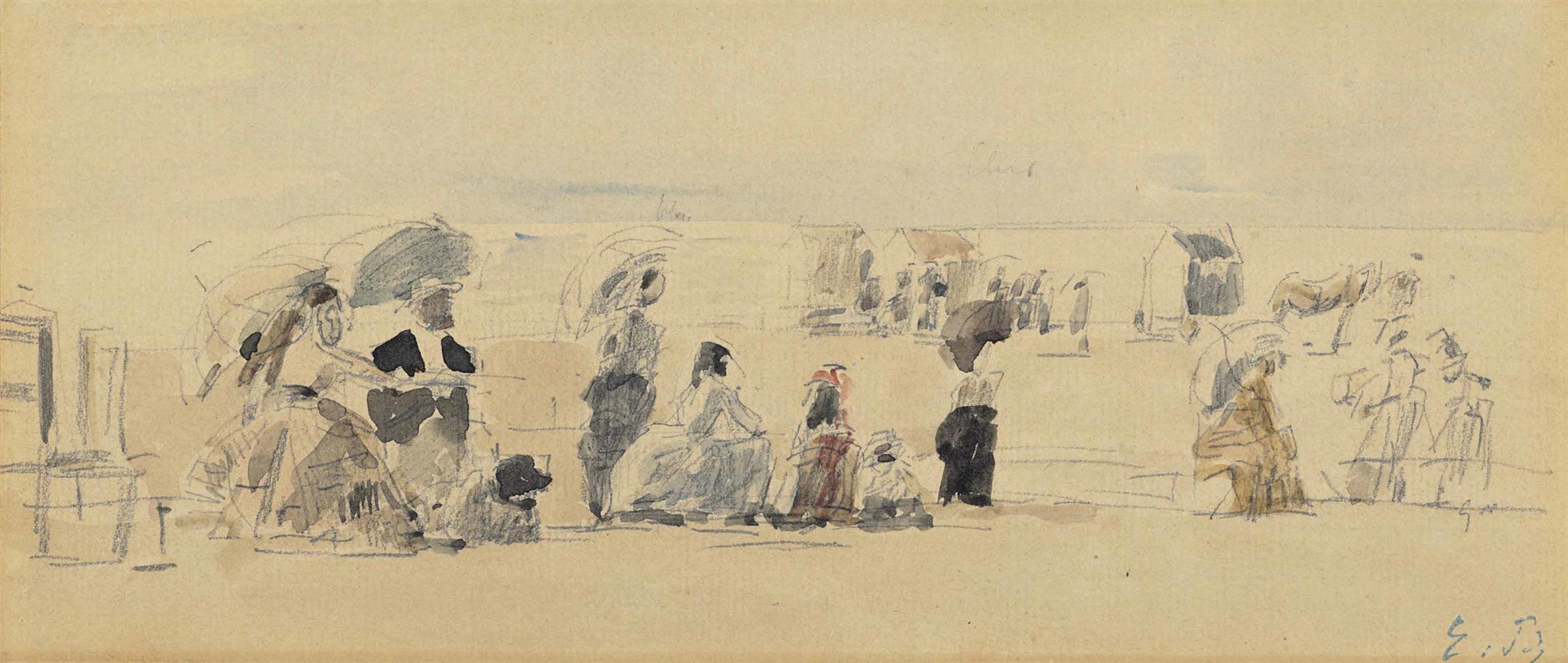 Eugene Louis Boudin-Scene De Plage-1870