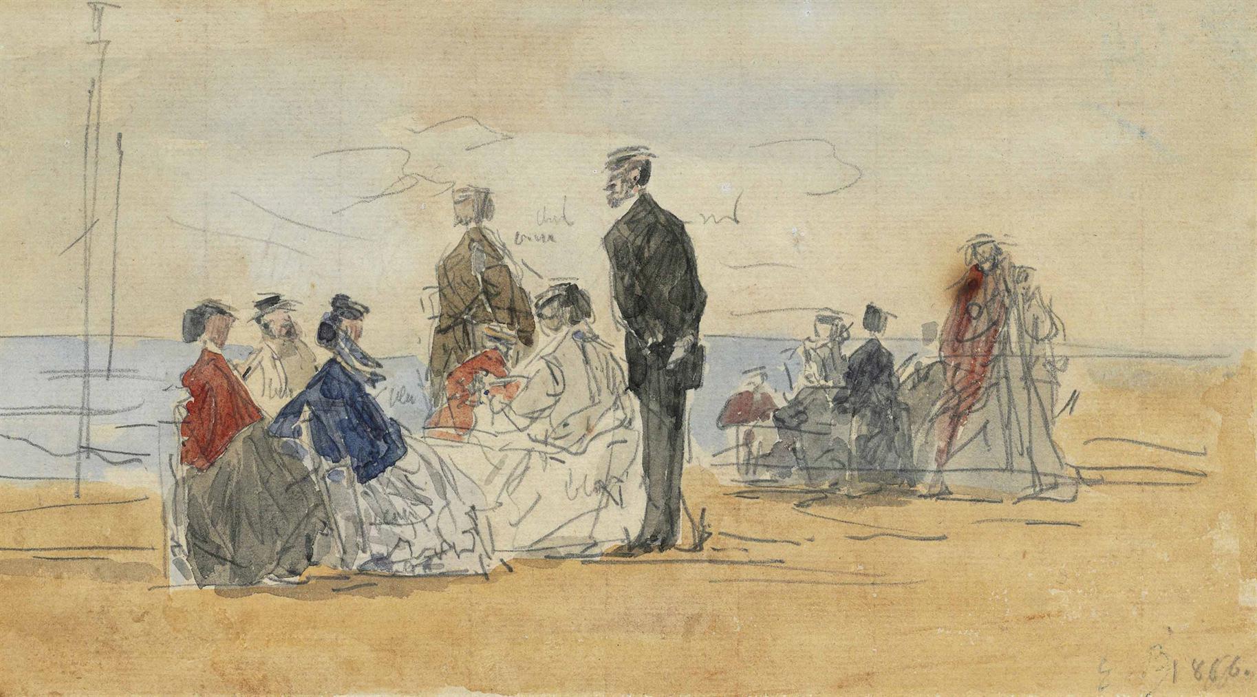 Eugene Louis Boudin-Scene De Plage-1866