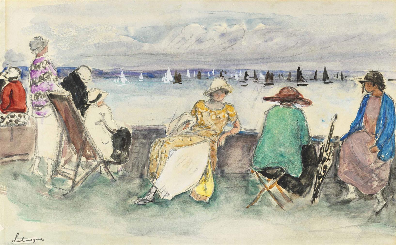 Henri Lebasque-Femme Aux Regates-1920