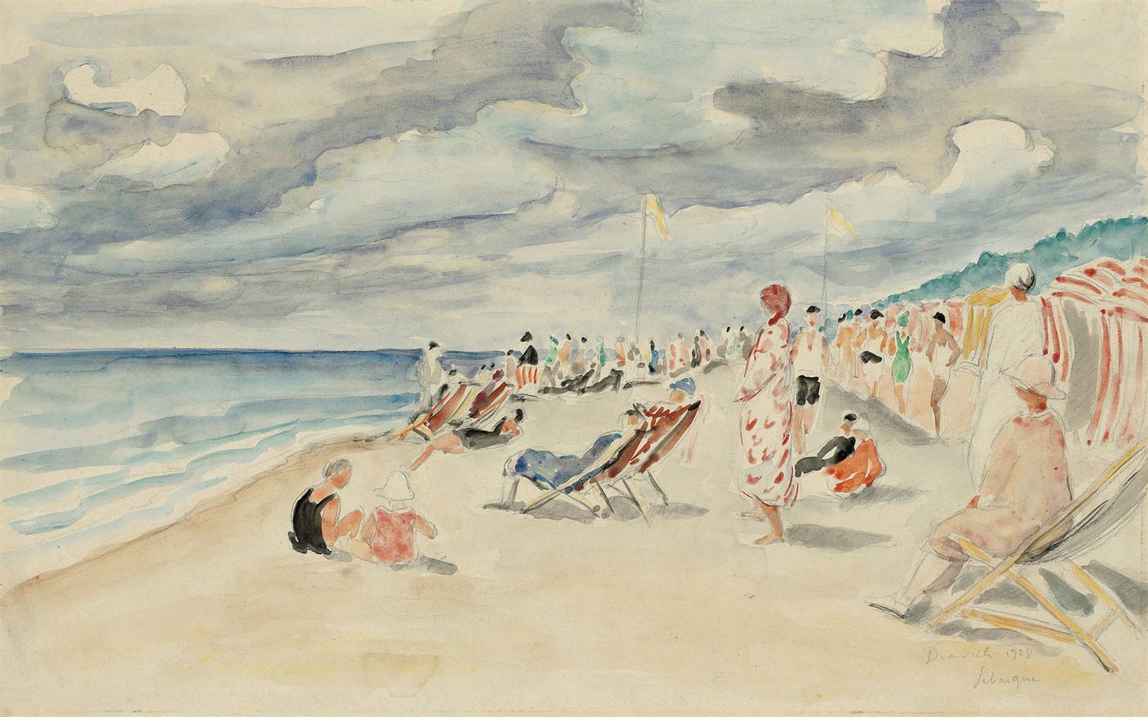Henri Lebasque-La Plage De Deauville-1928