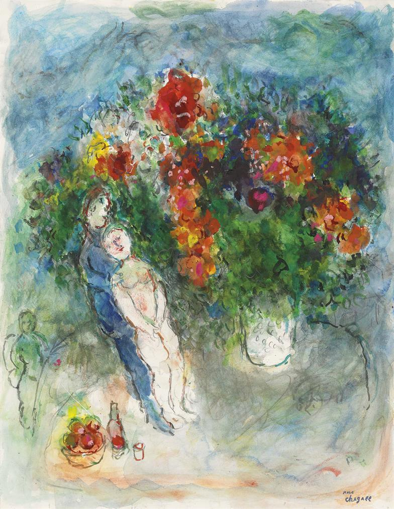 Marc Chagall-Reverie Damoureux-1979