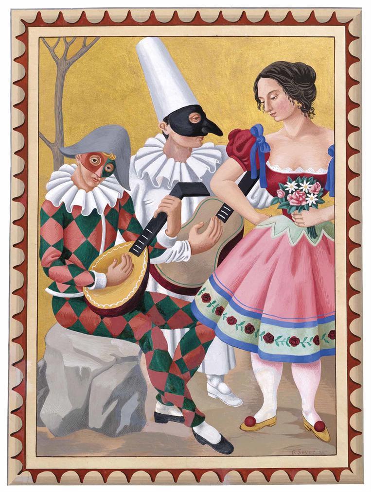 Gino Severini-Arlequin, Polichinelle, Colombine-1923