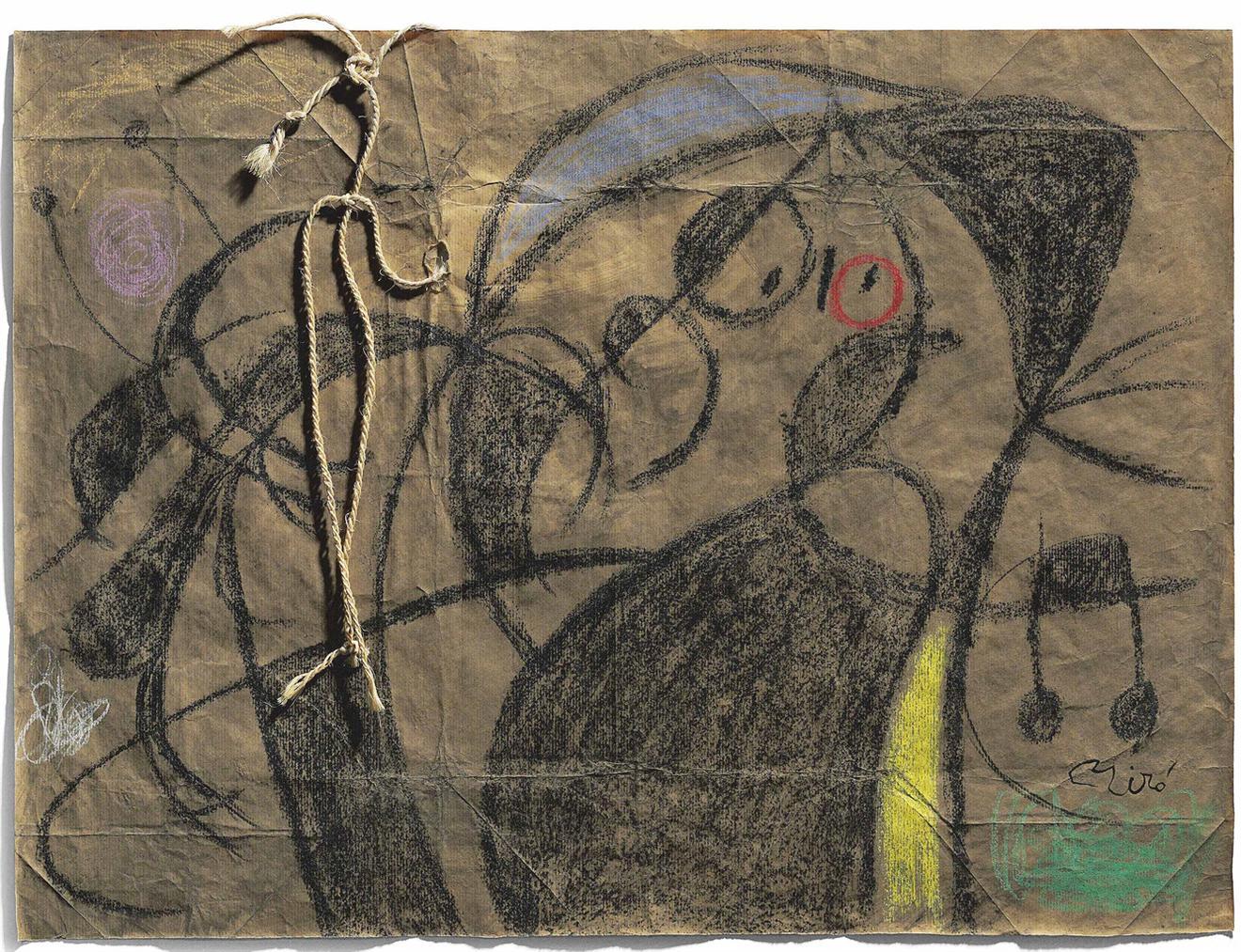 Joan Miro-Personnage, Oiseaux-1975