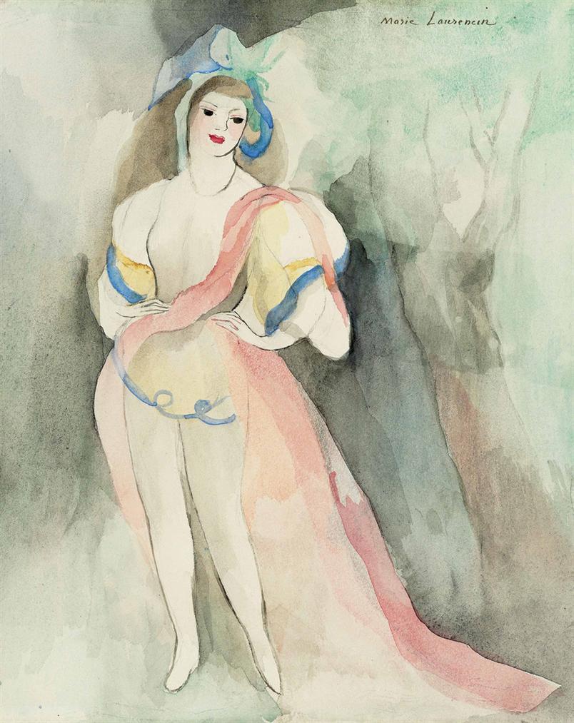 Marie Laurencin-Femme En Rose, Mains Sur Les Hanches-