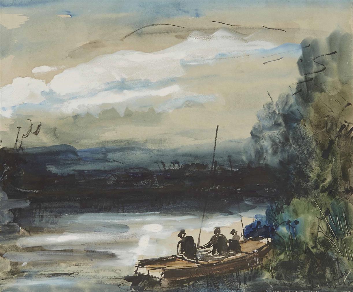 Maurice de Vlaminck-Paysage De Riviere Et Pecheurs-