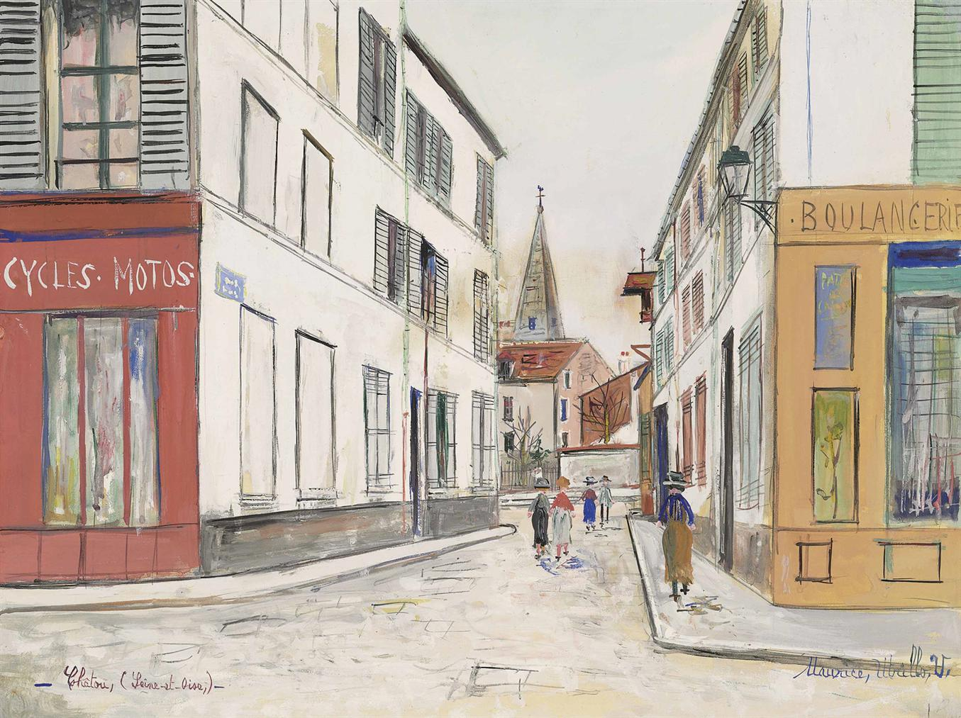Maurice Utrillo-Rue A Chatou (Yvelines)-1938