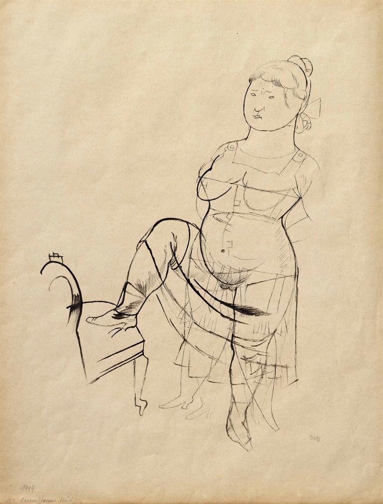 George Grosz-Erwachsenes Madchen-1919