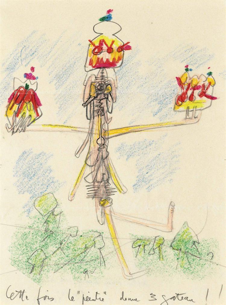 Roberto Matta-Cette Fois Le Peintre Donne 3 Gateau-1960