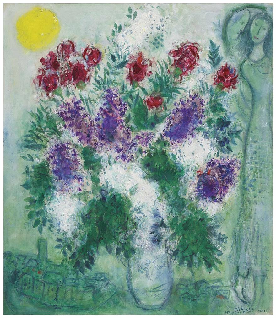Marc Chagall-Fleurs De Vence Ou Lilas Sur Vence-1954